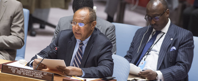 Haile Menkerios (at table), Special Representative of the Secretary-General to the African Union, briefs the Security Council on cooperation between the United Nations and the African Union in the area of peace and security, 18 November 2016, United Nations, New York
